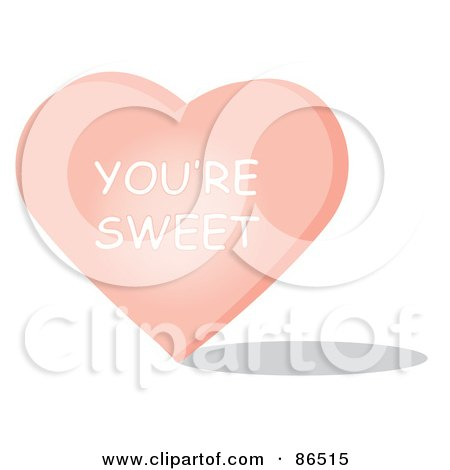 Royalty-Free (RF) Clipart Illustration of a Pink Candy Heart With A You're Sweet Message by Pams Clipart