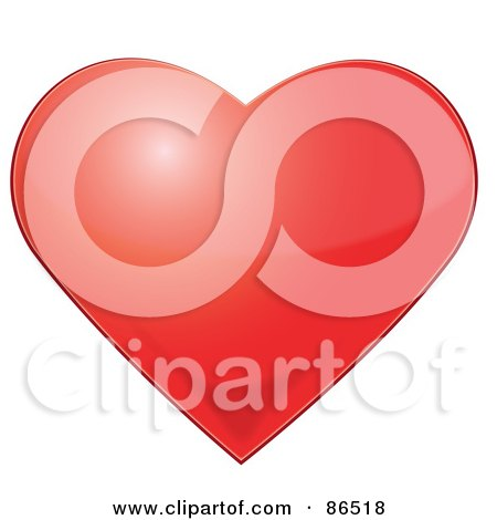 Royalty-Free (RF) Clipart Illustration of a Light Bouncing Off Of A Shiny Red Heart by Pams Clipart
