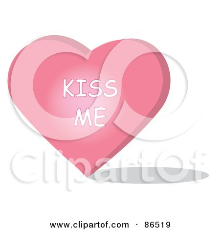 Royalty-Free (RF) Clipart Illustration of a Pink Candy Heart With A Kiss Me Message by Pams Clipart