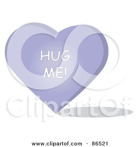 Royalty-Free (RF) Clipart Illustration of a Purple Candy Heart With A Hug Me Message by Pams Clipart