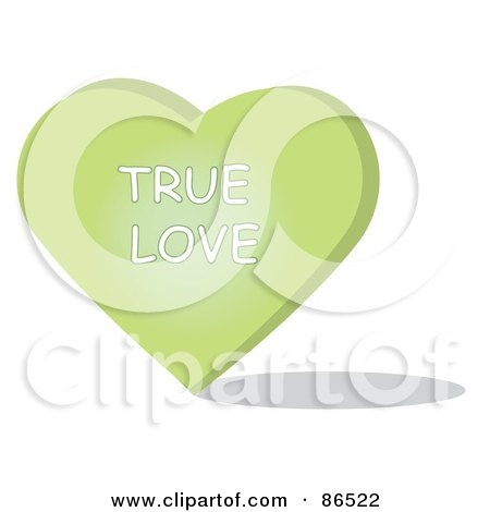 Royalty-Free (RF) Clipart Illustration of a Green Candy Heart With A True Love Message by Pams Clipart