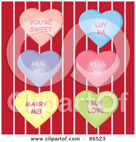 Royalty-Free (RF) Clipart Illustration of a Digital Collage Of Six Message Heart Candies Over Red And Pink Stripes by Pams Clipart