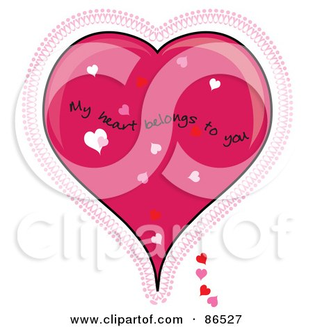 Royalty-Free (RF) Clipart Illustration of a My Heart Belongs To You Over A Pink Lacy Heart by Pams Clipart