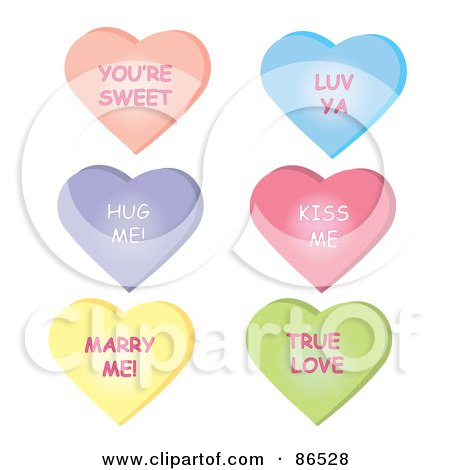 Royalty-Free (RF) Clipart Illustration of a Digital Collage Of Six Conversational Heart Candies With Messages Over White by Pams Clipart
