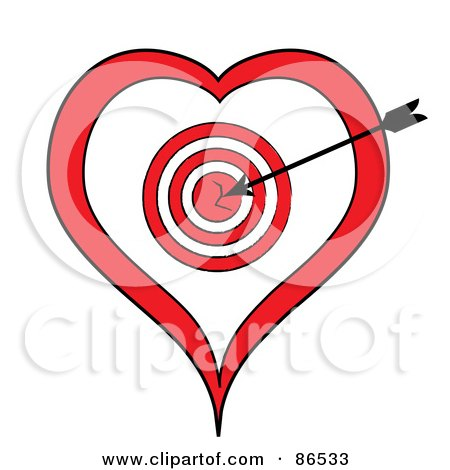 Royalty-Free (RF) Clip Art Illustration of a Black Arrow In A Heart Target by Pams Clipart