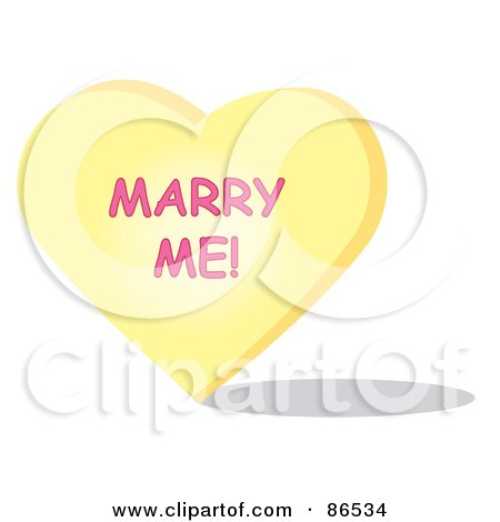 Royalty-Free (RF) Clipart Illustration of a Yellow Candy Heart With A Marry Me Message by Pams Clipart