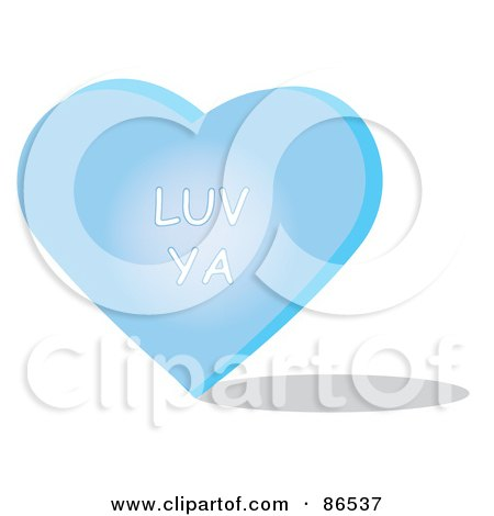 Royalty-Free (RF) Clipart Illustration of a Blue Candy Heart With A Luv Ya Message by Pams Clipart