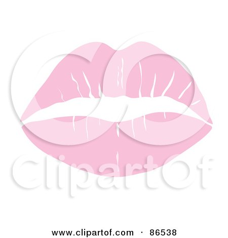 Royalty-Free (RF) Clipart Illustration of a Lipstick Smooch Kiss In Pastel Pink by Pams Clipart