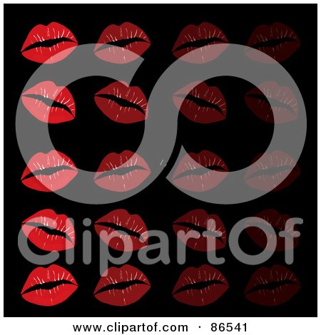 Royalty-Free (RF) Clipart Illustration of a Background Of Red Lipstick Kisses In Rows On Black by Pams Clipart