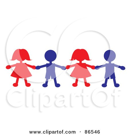 Royalty-Free (RF) Clipart Illustration of a Line Of Red And Blue Paper Doll Boys And Girls Holding Hands by Pams Clipart