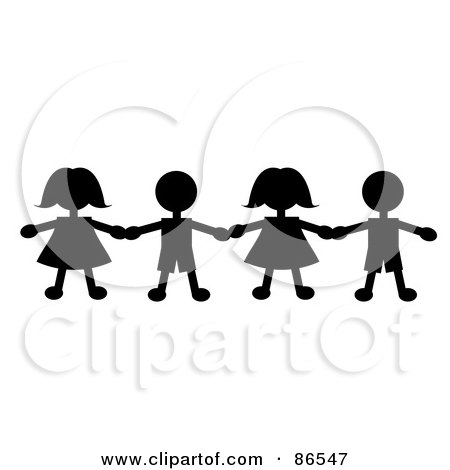 Royalty-Free (RF) Clipart Illustration of a Line Of Black Paper Doll Boys And Girls Holding Hands by Pams Clipart