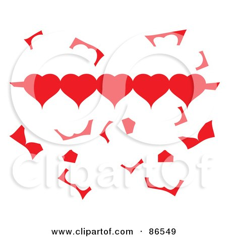 Royalty-Free (RF) Clipart Illustration of a Row Of Paper Hearts With Scraps by Pams Clipart