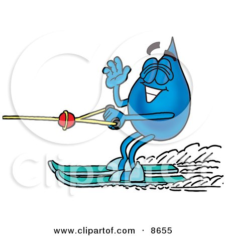 Clipart Picture of a Water Drop Mascot Cartoon Character Waving While Water Skiing by Toons4Biz