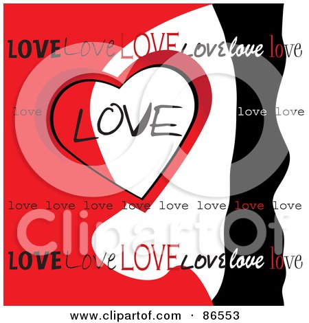 Royalty-Free (RF) Clipart Illustration of a Red, White And Black Love Heart Background by Pams Clipart