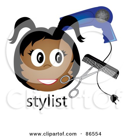 Royalty-Free (RF) Clipart Illustration of a Black Stylist Over The Word, With A Blow Dryer, Scissors And Comb by Pams Clipart