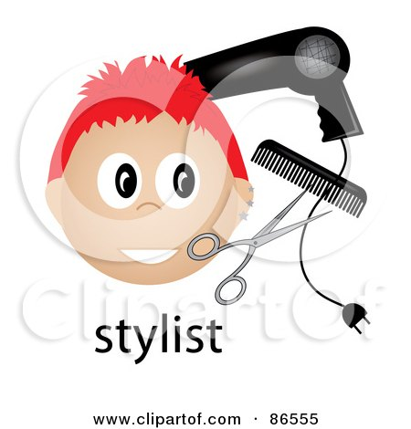 Royalty-Free (RF) Clipart Illustration of a Red Haired Male Stylist Over The Word, With A Blow Dryer, Scissors And Comb by Pams Clipart