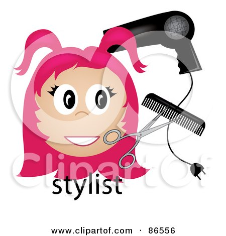 Royalty-Free (RF) Clipart Illustration of a Pink Haired Stylist Over The Word, With A Blow Dryer, Scissors And Comb by Pams Clipart