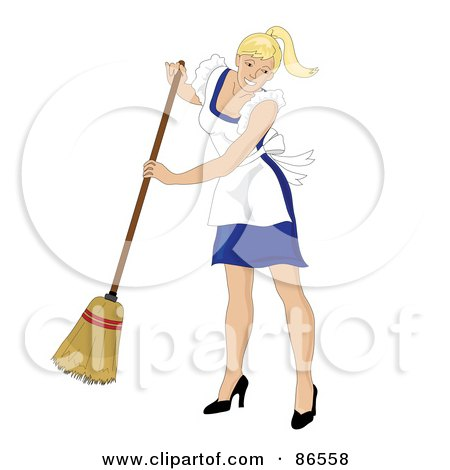 Blond Caucasian Maid Smiling And Sweeping Posters, Art Prints