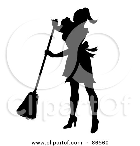 Royalty-Free (RF) Clipart Illustration of a Silhouetted Maid Smiling And Sweeping by Pams Clipart
