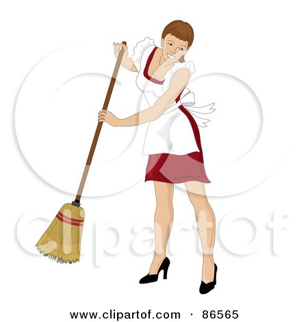 Royalty-Free (RF) Clipart Illustration of a Brunette Caucasian Maid Smiling And Sweeping by Pams Clipart