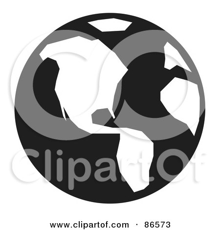 Royalty-Free (RF) Clipart Illustration of a Black And White Globe Featuring America by Arena Creative