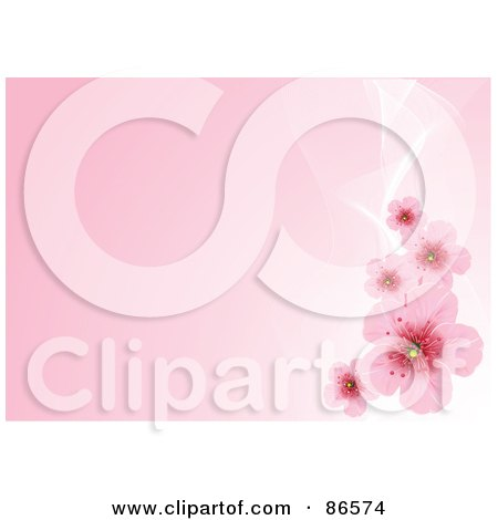 Royalty-Free (RF) Clipart Illustration of a Pink Background With White Mesh Waves And Cherry Blossoms by Pushkin