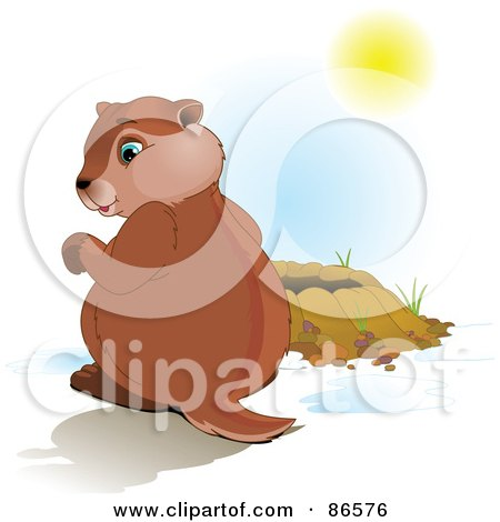 Royalty-Free (RF) Clipart Illustration of a Cute Groundhog Sitting Beside His Hole, Looking At His Shadow by Pushkin