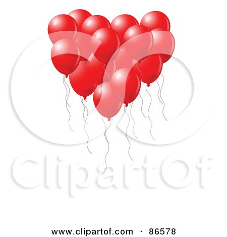 Royalty-Free (RF) Clipart Illustration of a Group Of Red Party Balloons Forming A Heart by Pushkin