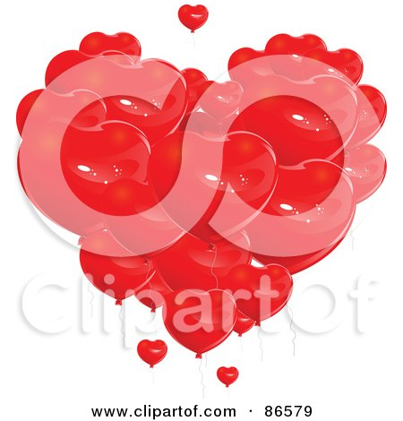 Royalty-Free (RF) Clipart Illustration of a Group Of Red Heart Balloons Forming A Giant Heart by Pushkin