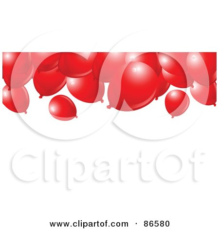 Royalty-Free (RF) Clipart Illustration of a Group Of Red Balloons Floating To The Ceiling by Pushkin
