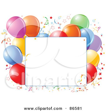 Royalty-Free (RF) Clipart Illustration of a Blank Text Box Bordered With Confetti And Colorful Party Balloons by Pushkin