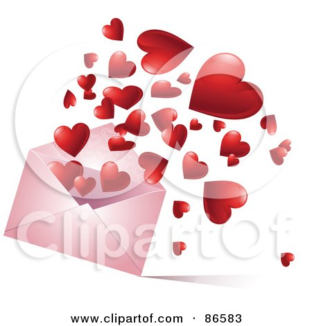 Red Hearts Bouncing And Floating Out Of A Pink Envelope Posters, Art Prints