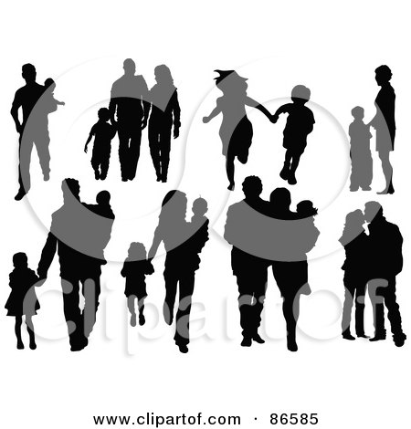 Royalty-Free (RF) Clipart Illustration of a Digital Collage Of Silhouetted Families In Eight Different Poses by Pushkin