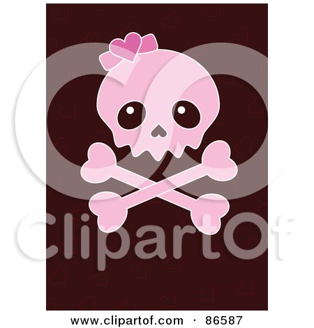 Royalty-Free (RF) Clipart Illustration of a Pink Girly Skull And Crossbones Over Brown by Pushkin