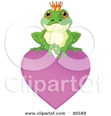 Royalty-Free (RF) Clipart Illustration of a Cute Frog Prince Perched On Top Of A Purple Heart by Pushkin