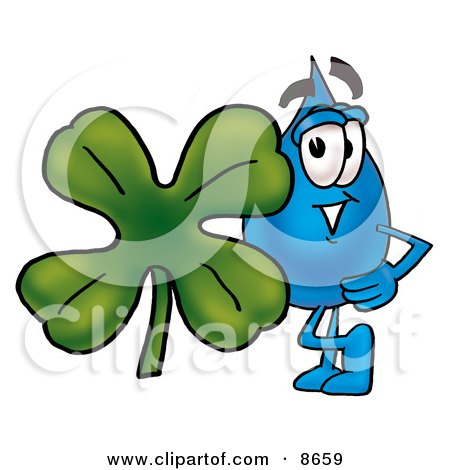 a Water Drop Mascot Cartoon Character With a Green Four Leaf Clover on