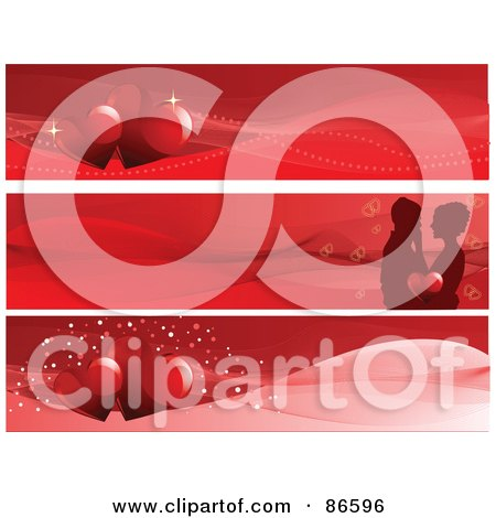 Royalty-Free (RF) Clipart Illustration of a Digital Collage Of Three Red Heart And Couple Valentine Website Header Banners by Pushkin