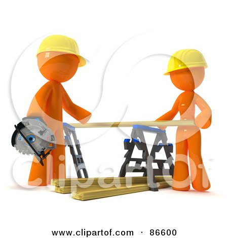Royalty-Free (RF) Clipart Illustration of a 3d Orange Couple Positioning Lumber On A Saw Horse by Leo Blanchette