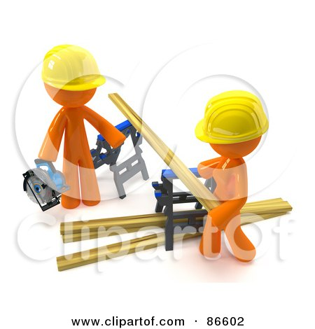 Royalty-Free (RF) Clipart Illustration of a 3d Orange Couple Using Saw Horses To Saw Lumber by Leo Blanchette