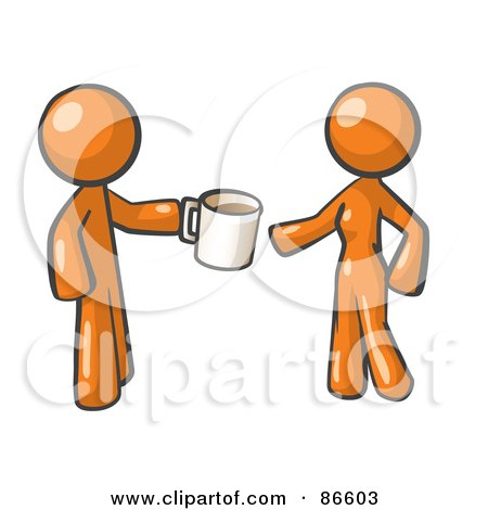 Orange Man Giving A Woman A Cup Of Coffee Posters, Art Prints