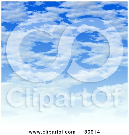 Royalty-Free (RF) Clipart Illustration of a Cloudscape With White Clouds Over Blue by Arena Creative