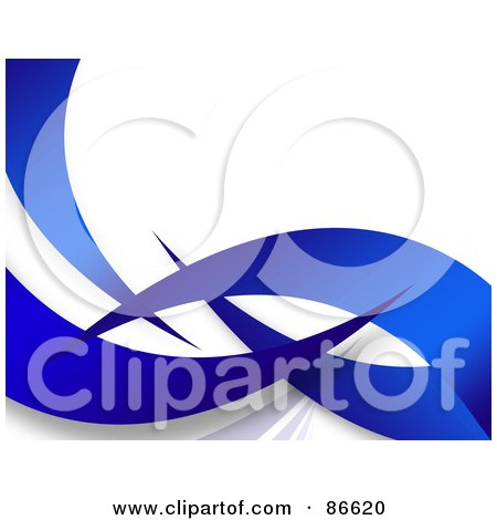 Royalty-Free (RF) Clipart Illustration of a Background Of Blue Swoosh Waves Over White by Arena Creative