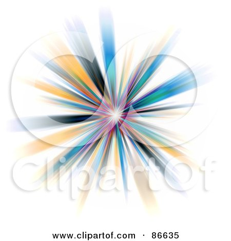Royalty-Free (RF) Clipart Illustration of a Colorful Fractal Burst On White by Arena Creative