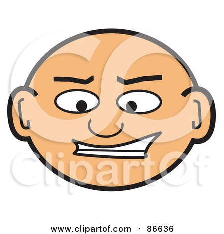 Royalty-Free (RF) Clipart Illustration of a Bald Man's Face by Arena Creative