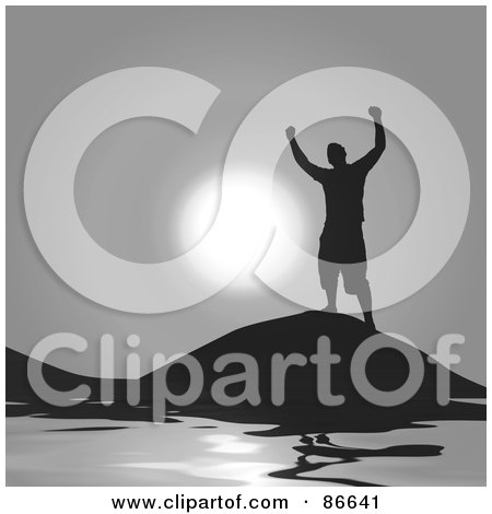 Royalty-Free (RF) Clipart Illustration of a Silhouetted Successful Man Celebrating Victory On A Hill Over Water by Arena Creative