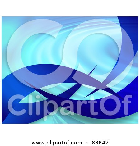 Royalty-Free (RF) Clipart Illustration of Blue Swooshes On Blue Ripples by Arena Creative