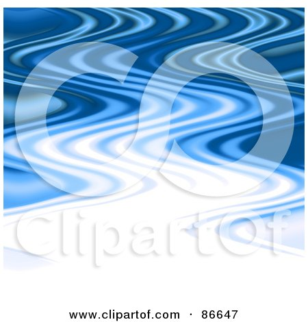 Royalty-Free (RF) Clipart Illustration of a Wavy White And Blue Ripply Background by Arena Creative