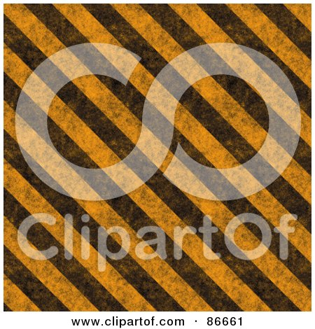 Royalty-Free (RF) Clipart Illustration of a Grungy Textured Background Of Diagonal Hazard Stripes by Arena Creative