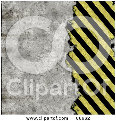 Royalty-Free (RF) Clipart Illustration of a Grungy Textured Background Of Cement And Diagonal Hazard Stripes by Arena Creative