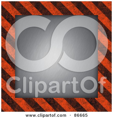 Royalty-Free (RF) Clipart Illustration of a Center With A Black And Orange Hazard Stripes Border by Arena Creative